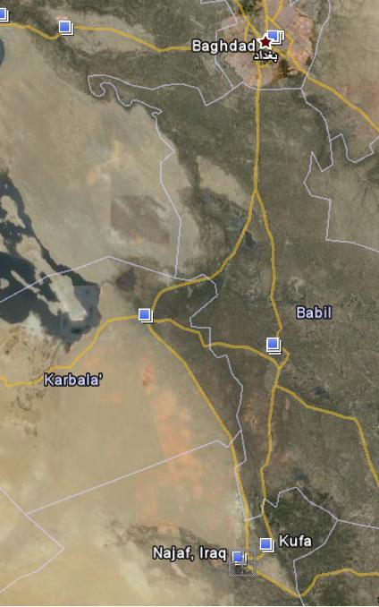 peta najaf kufah baghdad